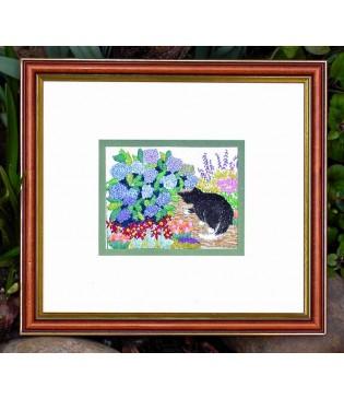 Cat by the Hydrangea